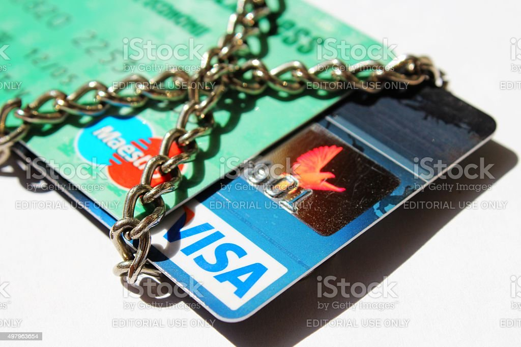 Blocked by chain credit cards (concept) stock photo