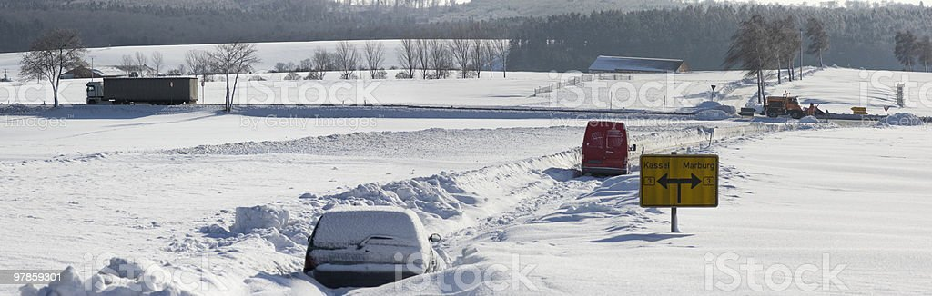 Blocked cars on a road with driving truck in background royalty-free stock photo