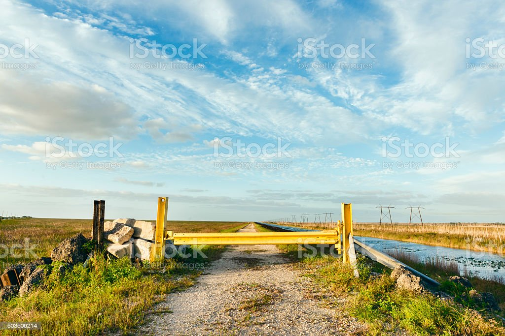 Blocked Dirt Road in Everglades Miami Dade Florida stock photo