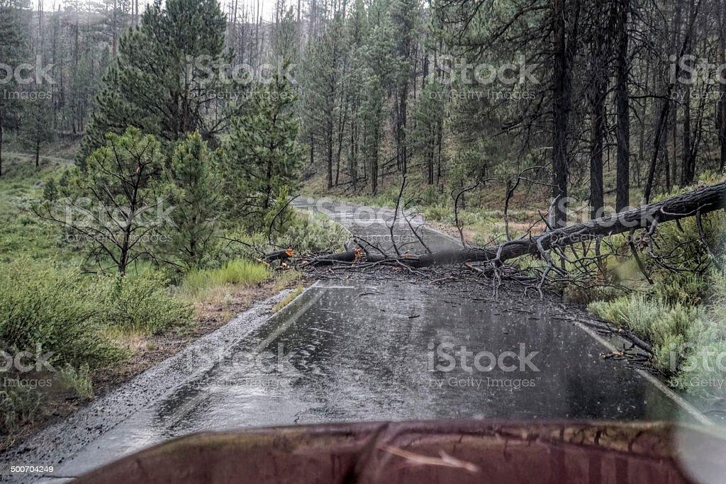 blocked road stock photo