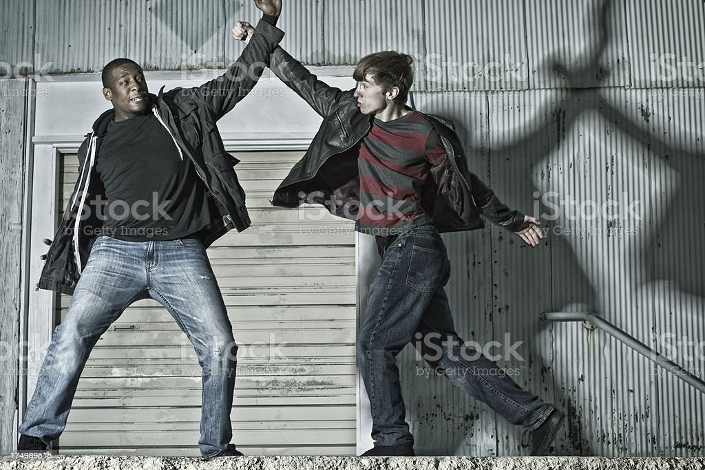 Blocking a Punch in Kenpo Karate on the Street stock photo