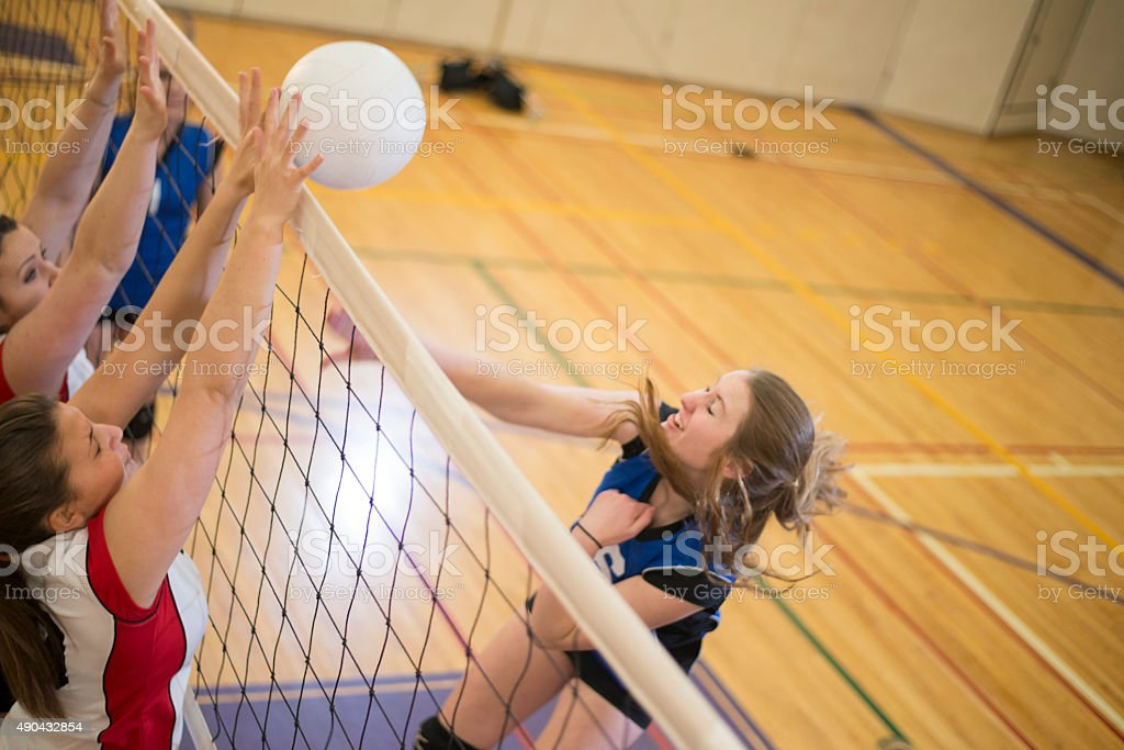 Blocking at the Volleyball Net stock photo