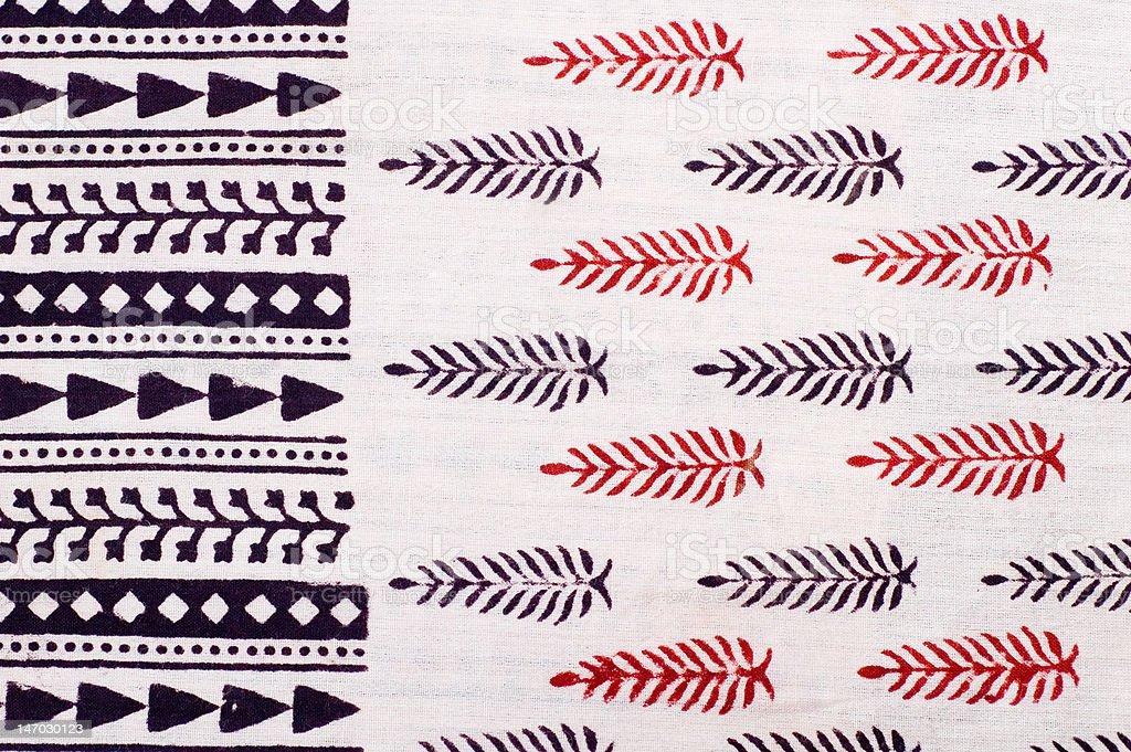 Block-printed Indian fabric royalty-free stock photo