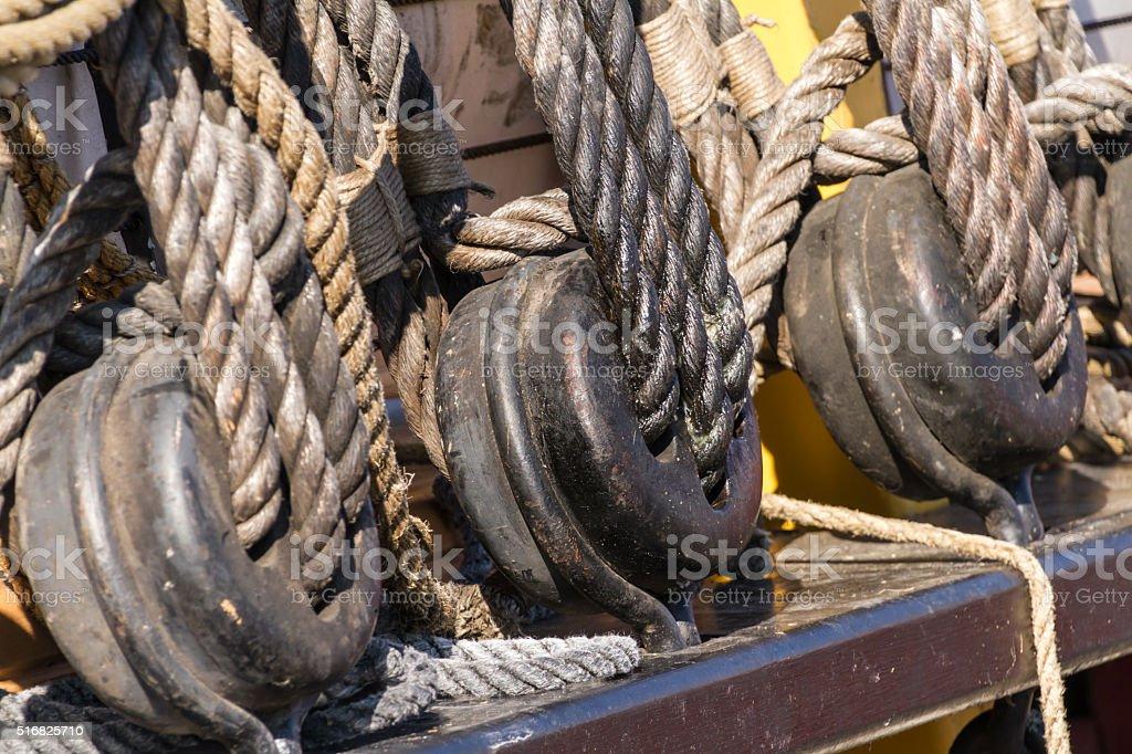 Blocks and ropes stock photo