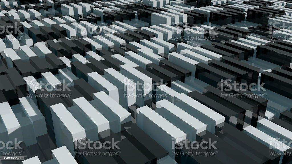 Blocks background. Random animation. Technology background stock photo