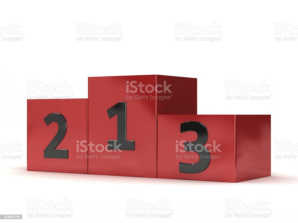 Blocks of red podium with numbers written on them stock photo