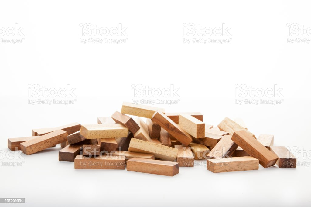 Blocks of wood isolated on white background,Strategy game as a business plan stock photo