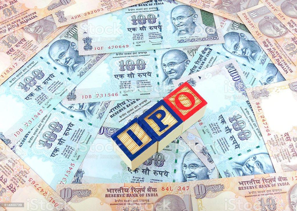 IPO Blocks on Indian Rupees stock photo