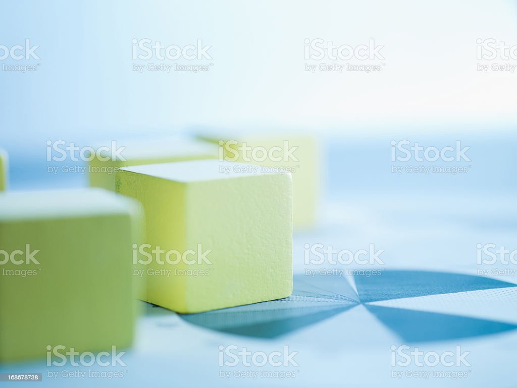 Blocks on paper charts stock photo