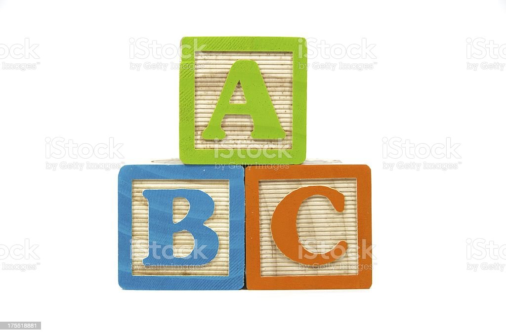 Blocks Spelling out A B C stock photo