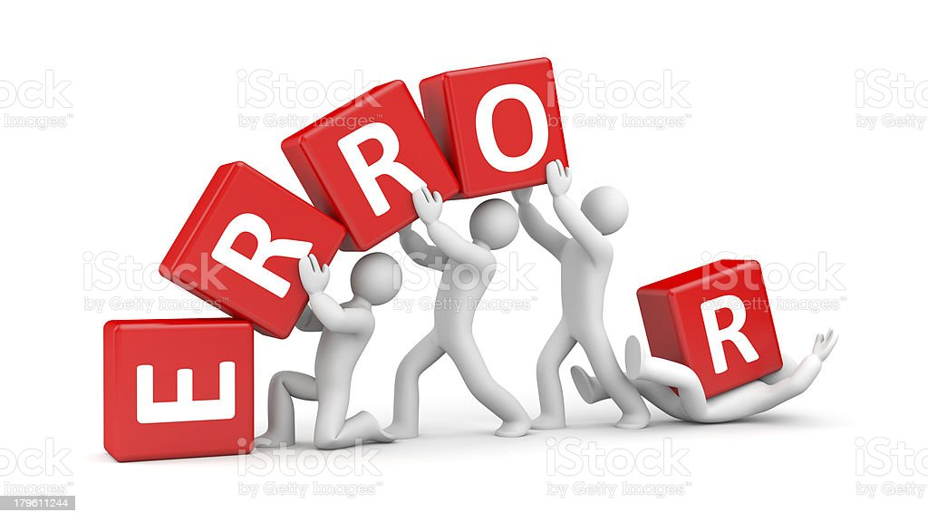 Blocks spelling out ERROR while fictional people stack them stock photo