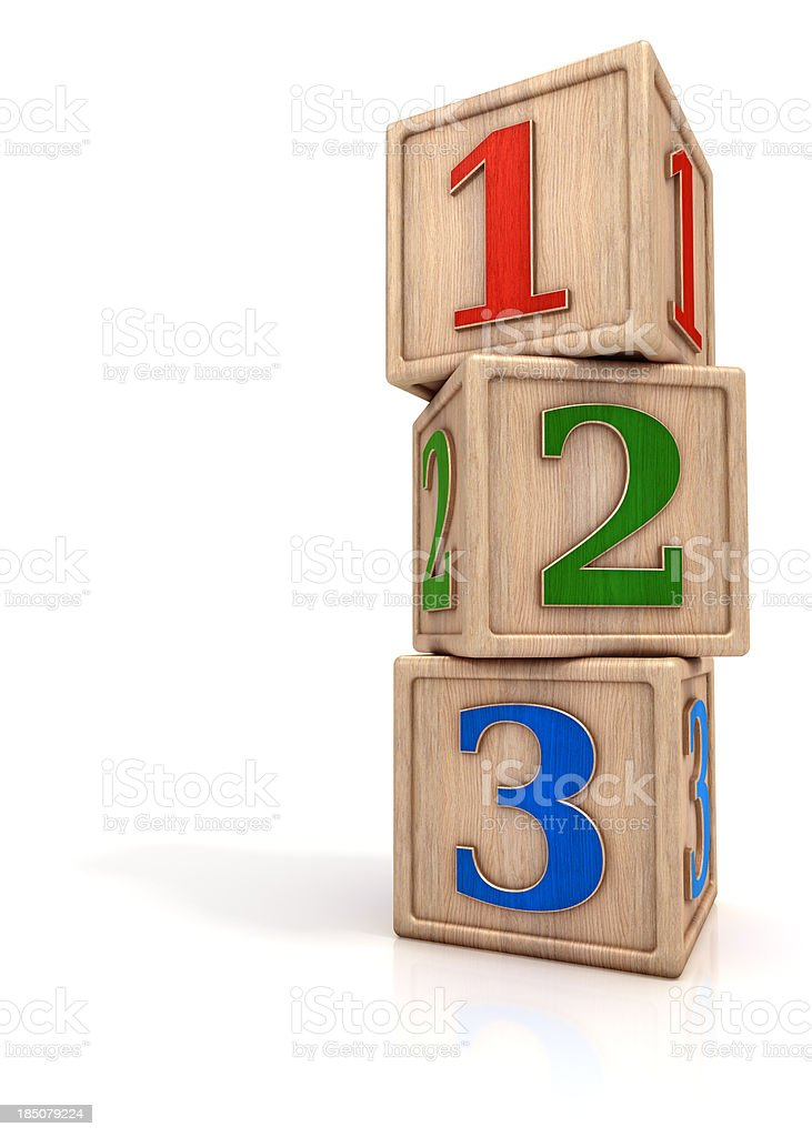 Blocks stack with numbers 1 2 3 stock photo