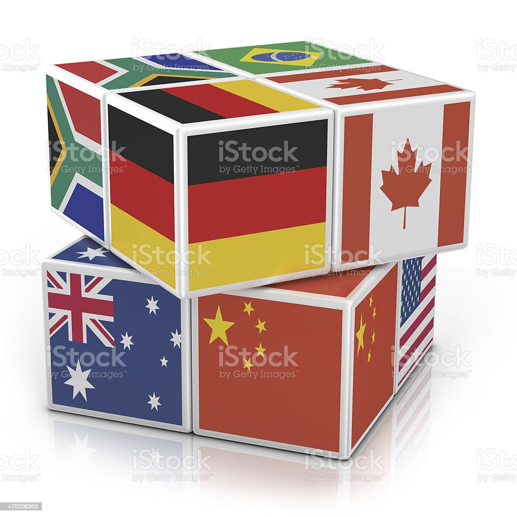 Blocks with Flags royalty-free stock photo