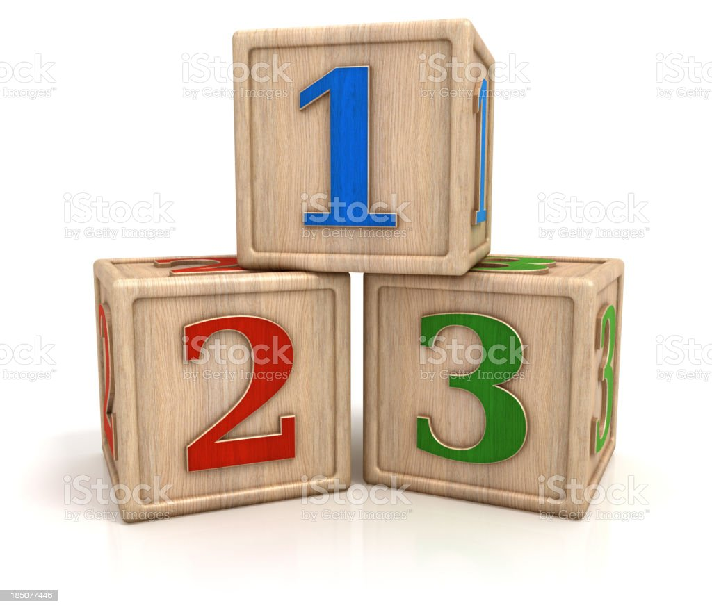 Blocks with numbers 1 2 3 stock photo