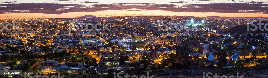 Bloemfontein evening cityscape stock photo
