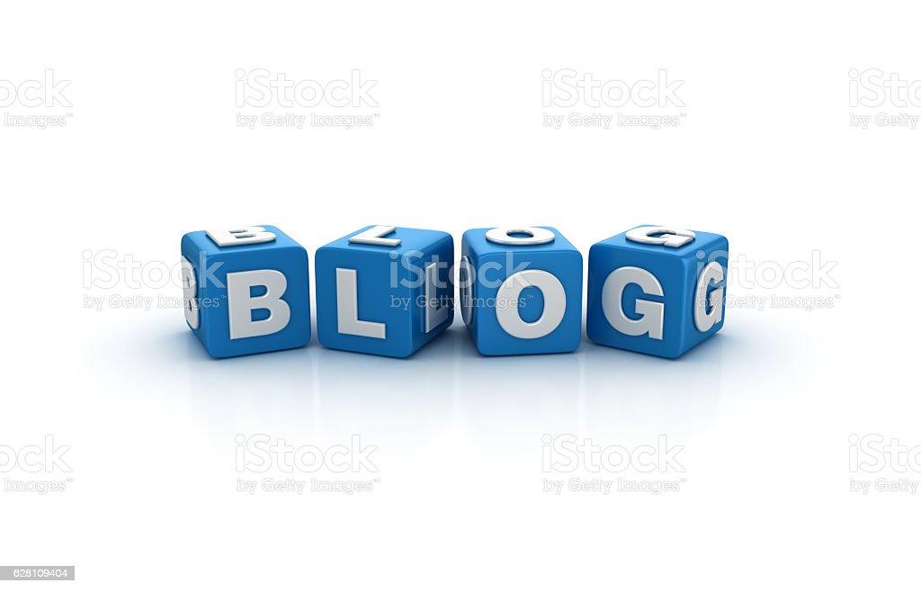 Blog Buzzword Cubes - 3D Rendering stock photo
