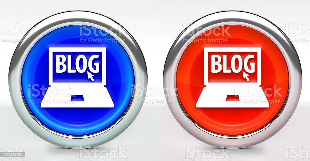 Blog Computer Icon on Button with Metallic Rim stock photo