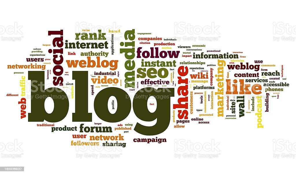 Blog concept in word tag cloud royalty-free stock photo