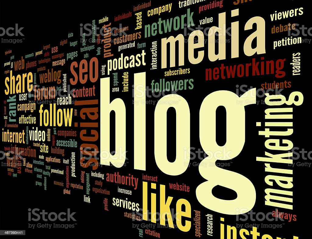 Blog concept in word tag cloud stock photo