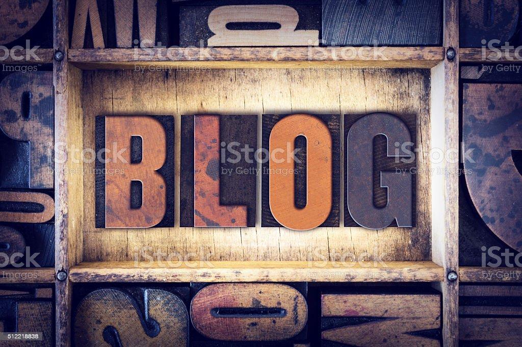 Blog Concept Letterpress Type stock photo