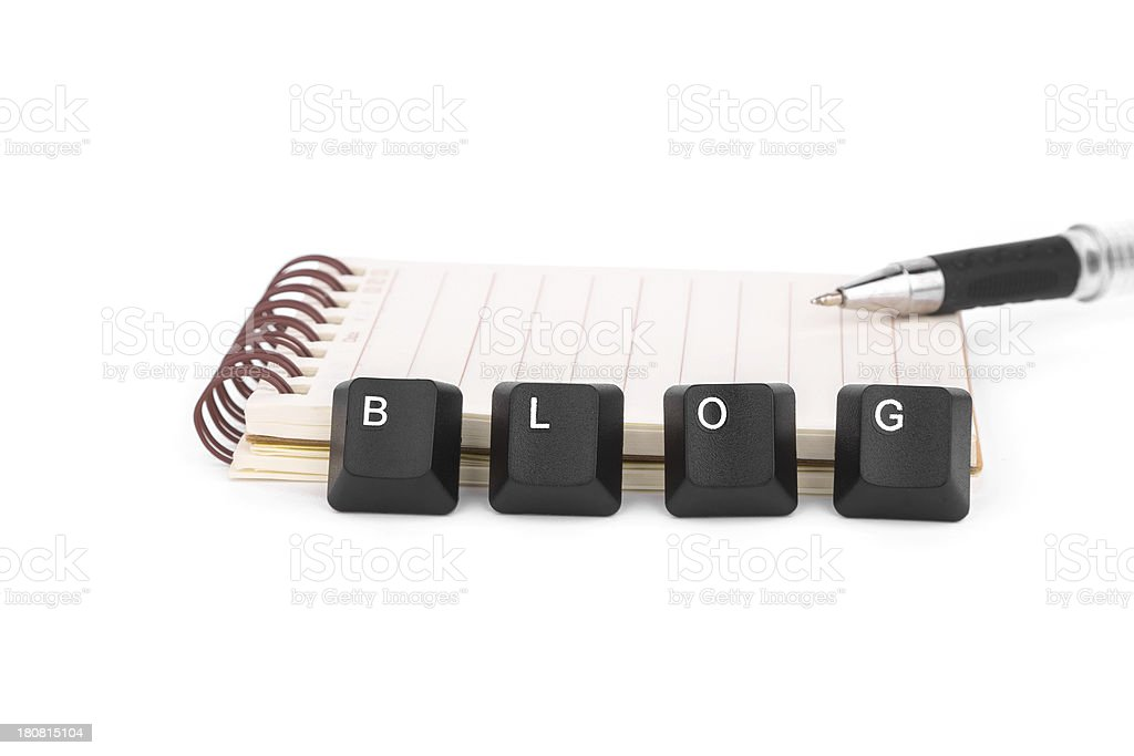 blog keyboard and notebook isolated on white background royalty-free stock photo