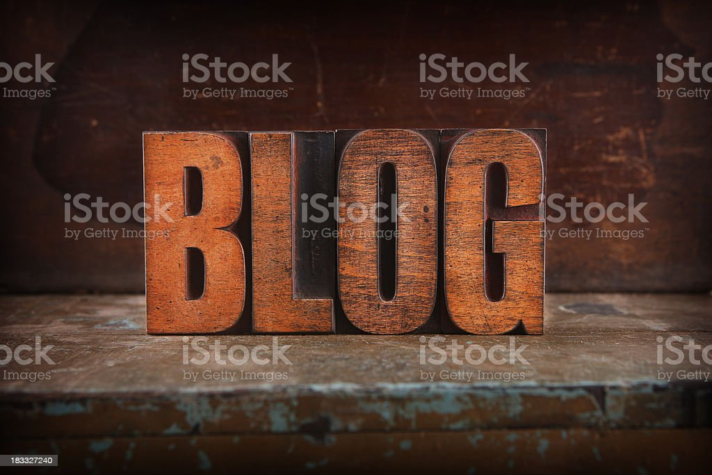 Blog - Letterpress letters royalty-free stock photo