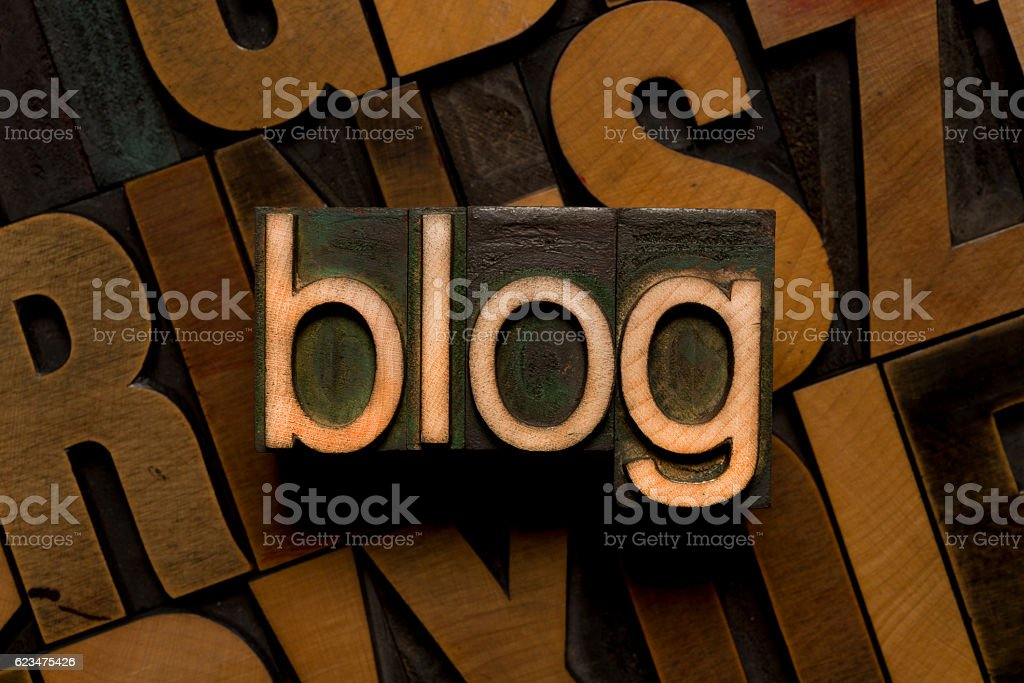 blog - Letterpress type stock photo