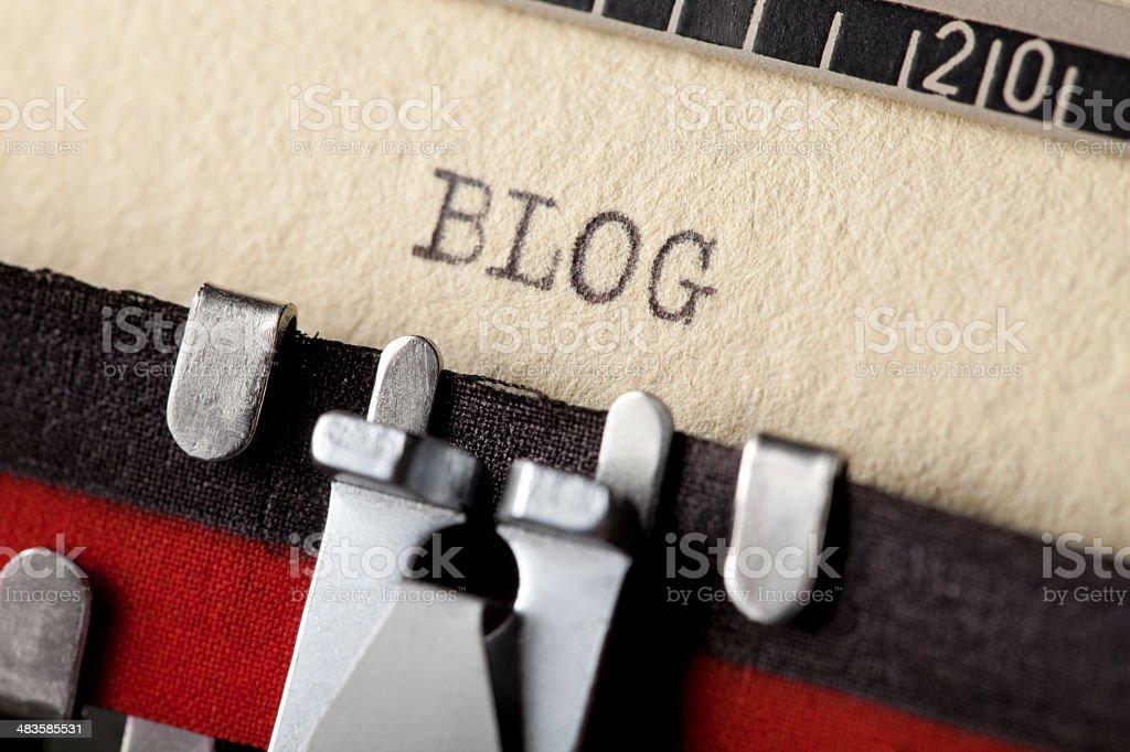 'Blog' typed using an old typewriter royalty-free stock photo