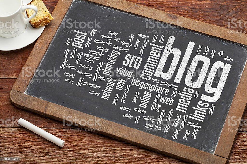 blog word cloud on blackboard stock photo