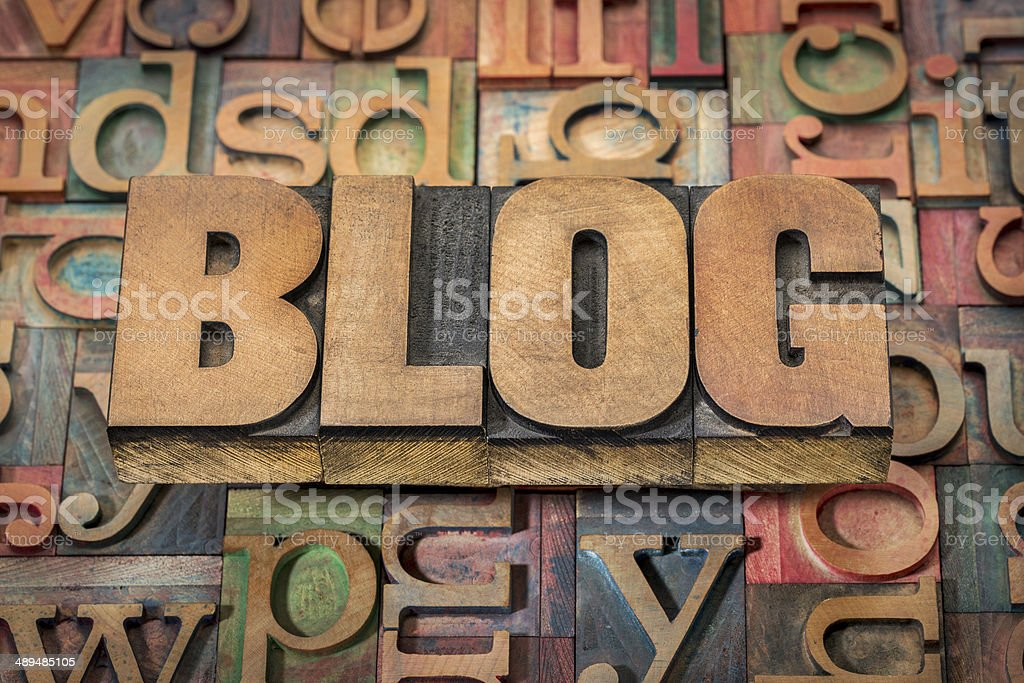 blog word in wood type stock photo