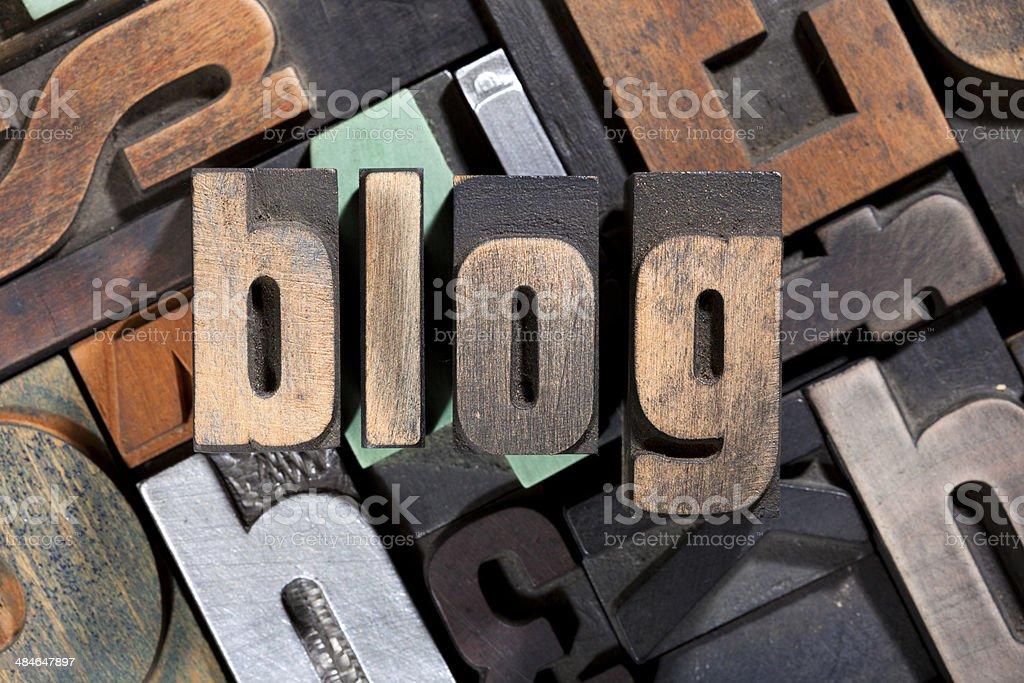 blog written with antique letterpress type stock photo
