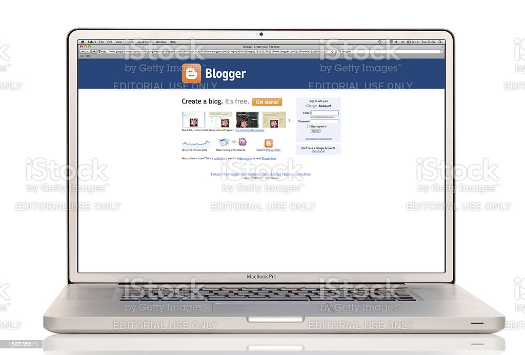 Blogger website on a laptop royalty-free stock photo
