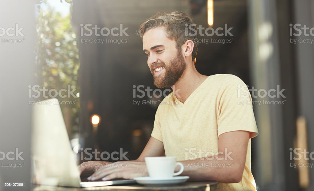 Blogging is better at the cafe stock photo