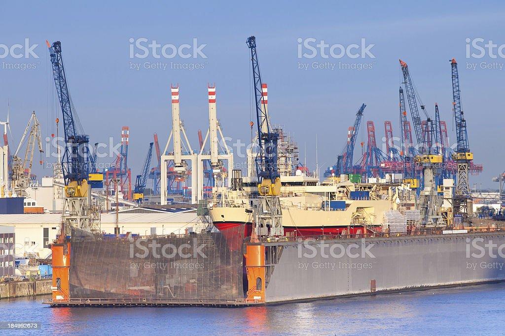 Blohm + Voss in Hamburg stock photo