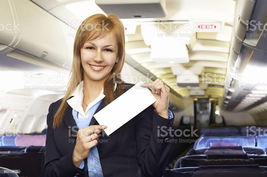 Blond air hostess (stewardess) royalty-free stock photo
