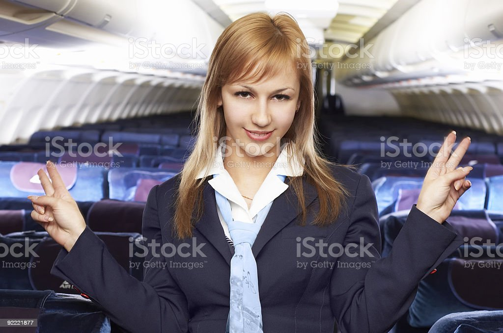 blond air hostess (stewardess) royalty-free stock photo