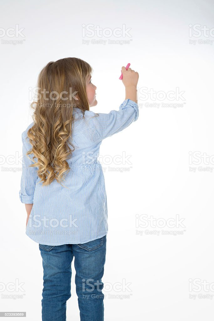 blond and young child from behind stock photo