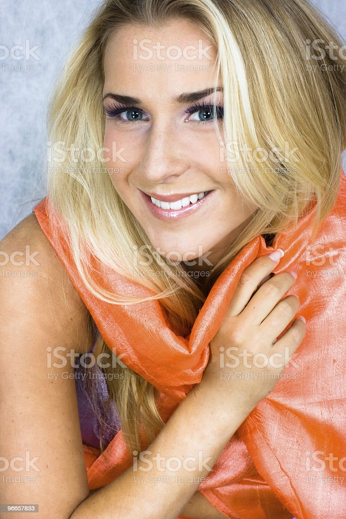 Blond beauty in silk scarf stock photo