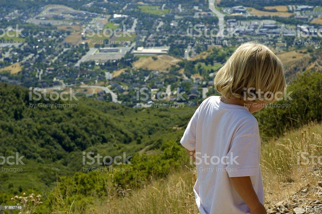 Blond Boy Hiking royalty-free stock photo