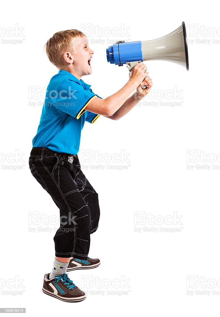 Blond boy shouting into loud hailer: isolated on white stock photo
