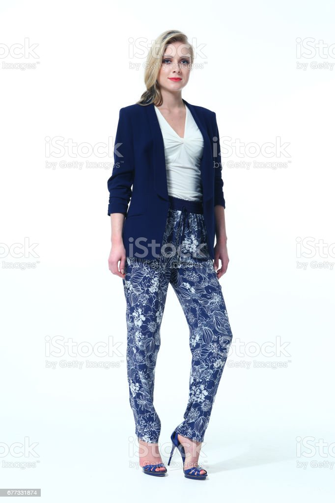 blond business woman in casual closes stock photo