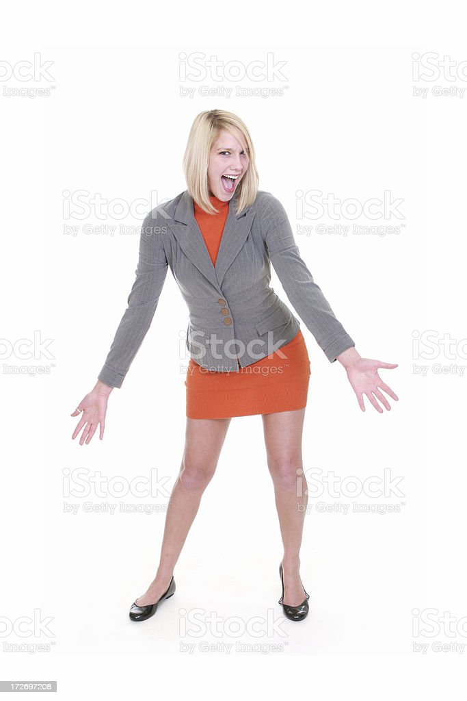 Blond Business Woman Presenting royalty-free stock photo
