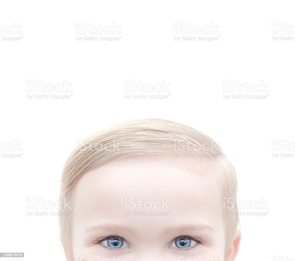 blond caucasian boy with blue eyes stock photo