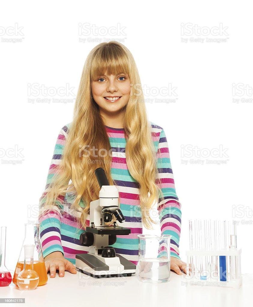 Blond clever teen girl royalty-free stock photo