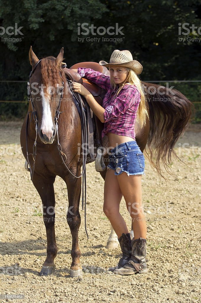 Blond cowgirl royalty-free stock photo