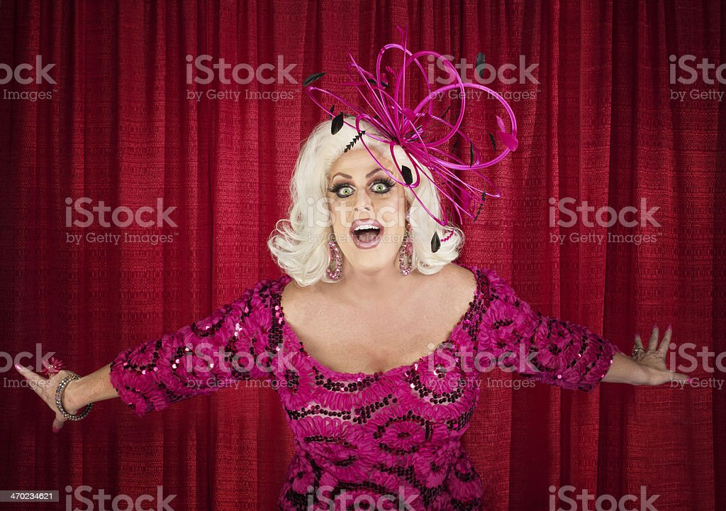 Blond Drag Queen Singing stock photo