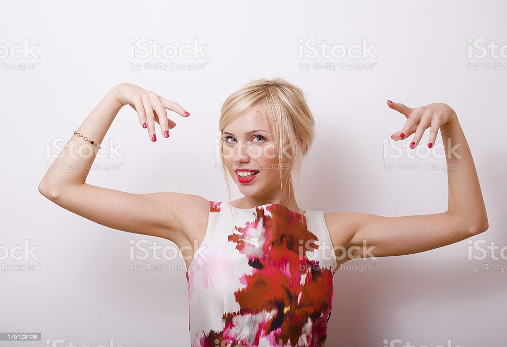 blond emotional woman with red lips and nails royalty-free stock photo