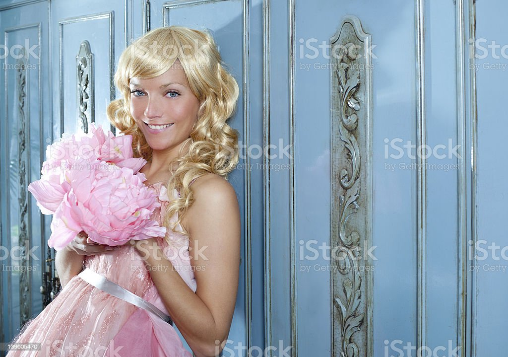 blond fashion princess and wintage flowers dress royalty-free stock photo