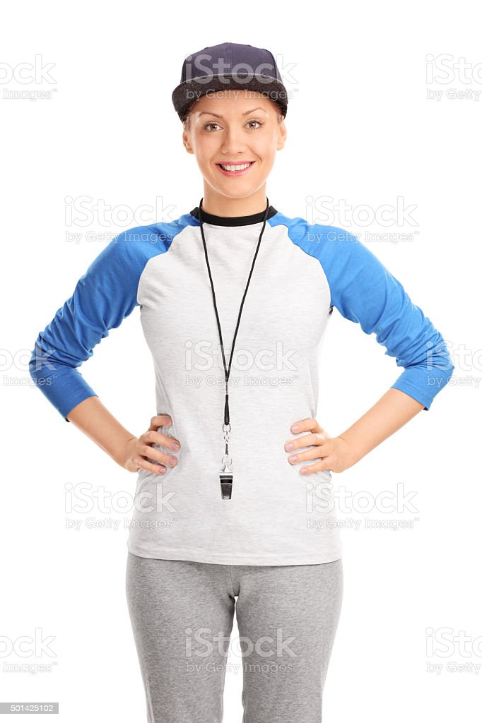 Blond female baseball coach stock photo