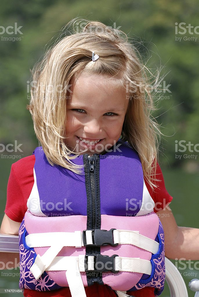 Blond Five Year Old Girl in Lifejacket royalty-free stock photo